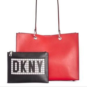 DKNY Red Mott Tile Logo Leather Tote
